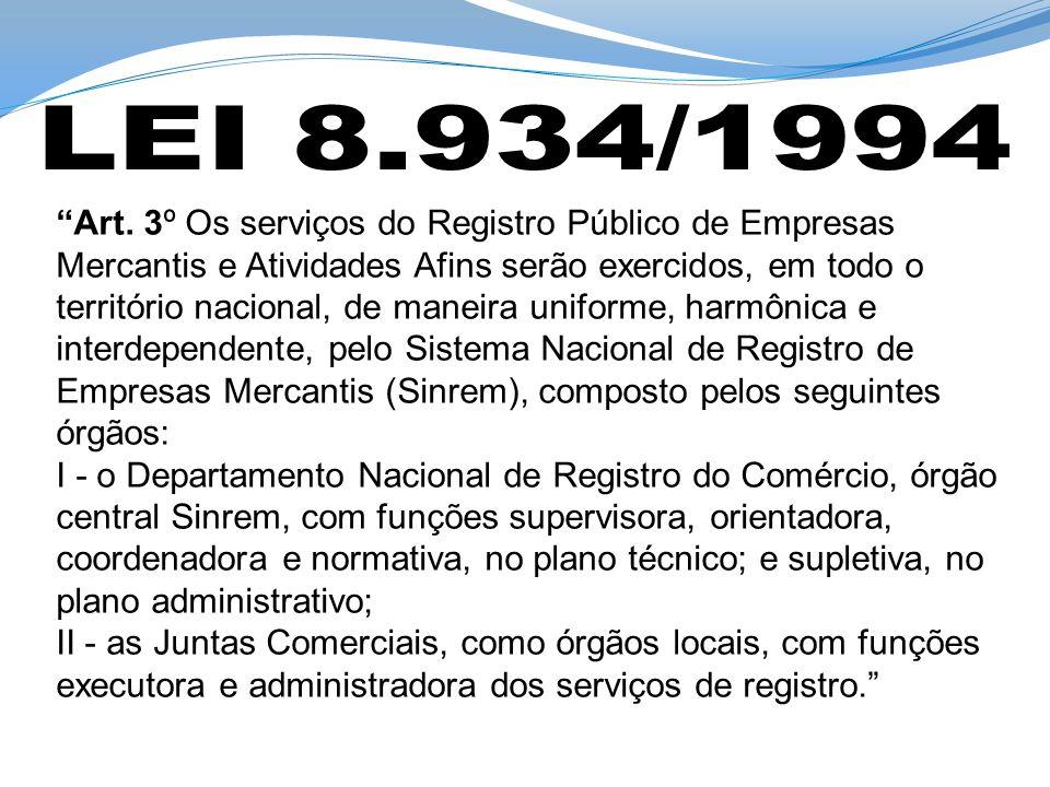 Art. 3º Os serviços do Registro Público de Empresas Mercantis e Atividades Afins serão exercidos, em todo o território nacional, de maneira uniforme,