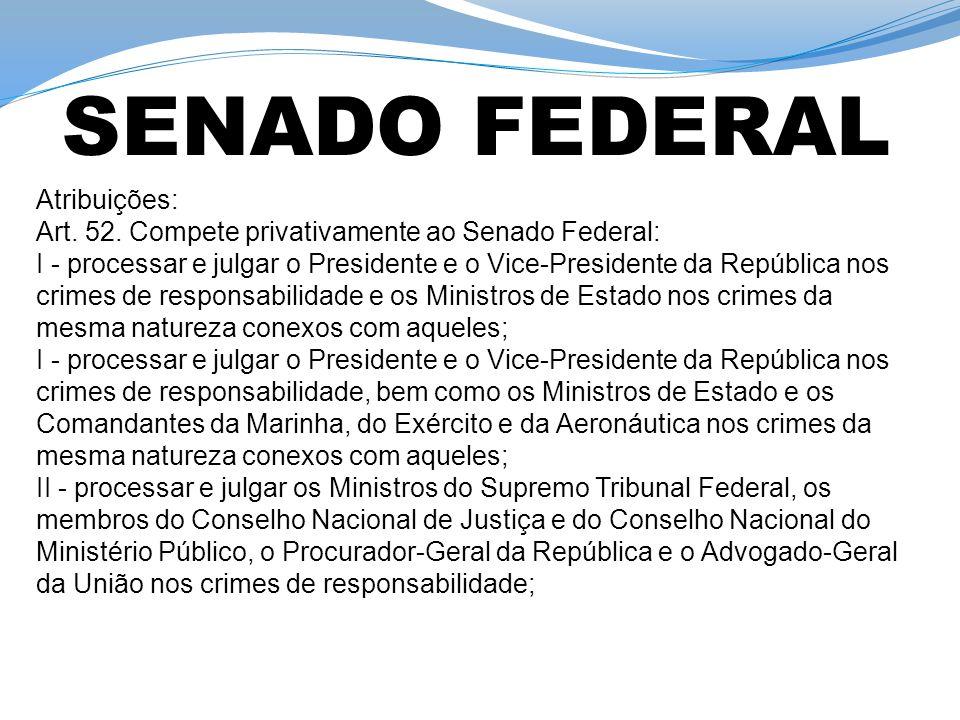Atribuições: Art. 52. Compete privativamente ao Senado Federal: I - processar e julgar o Presidente e o Vice-Presidente da República nos crimes de res