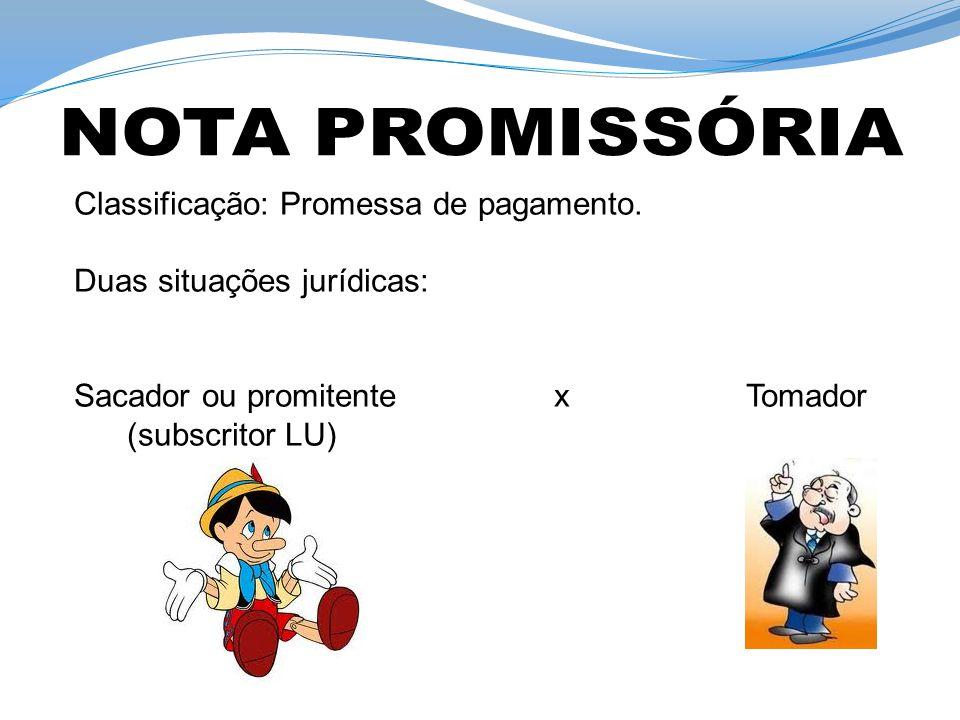 Classificação: Promessa de pagamento. Duas situações jurídicas: Sacador ou promitente x Tomador (subscritor LU)