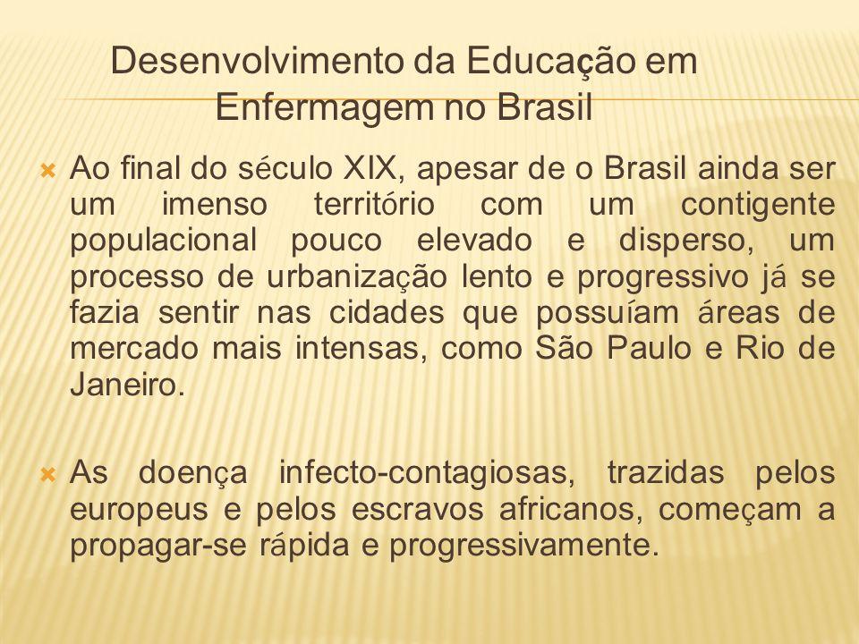 Desenvolvimento da Educa ç ão em Enfermagem no Brasil Ao final do s é culo XIX, apesar de o Brasil ainda ser um imenso territ ó rio com um contigente