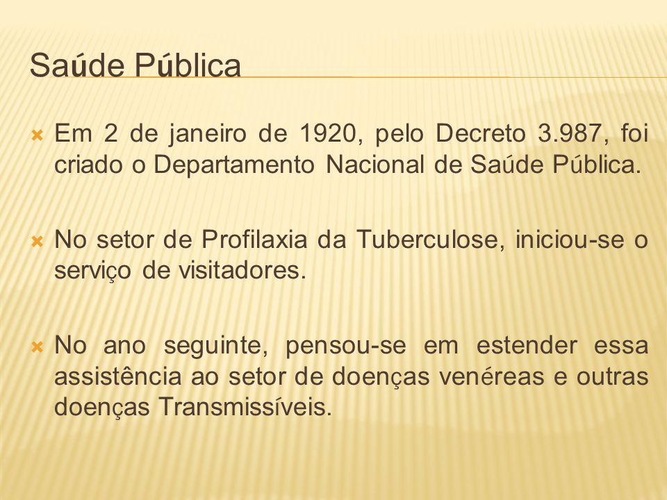 Sa ú de P ú blica Em 2 de janeiro de 1920, pelo Decreto 3.987, foi criado o Departamento Nacional de Sa ú de P ú blica. No setor de Profilaxia da Tube