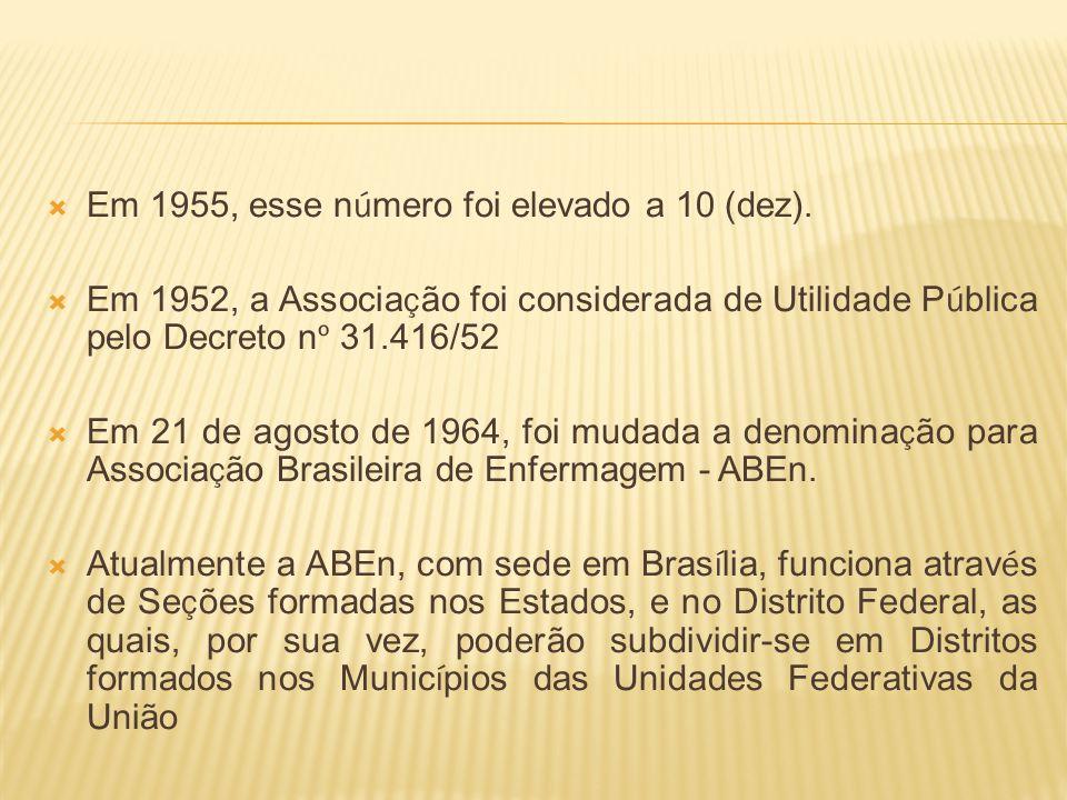 Em 1955, esse n ú mero foi elevado a 10 (dez). Em 1952, a Associa ç ão foi considerada de Utilidade P ú blica pelo Decreto n º 31.416/52 Em 21 de agos