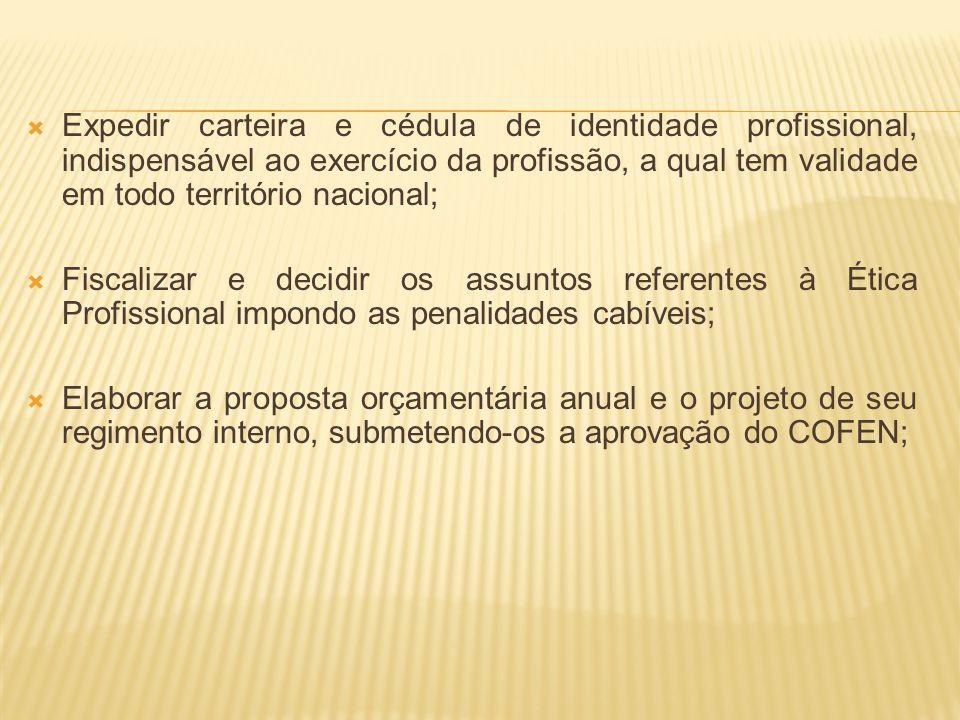 Expedir carteira e cédula de identidade profissional, indispensável ao exercício da profissão, a qual tem validade em todo território nacional; Fiscal
