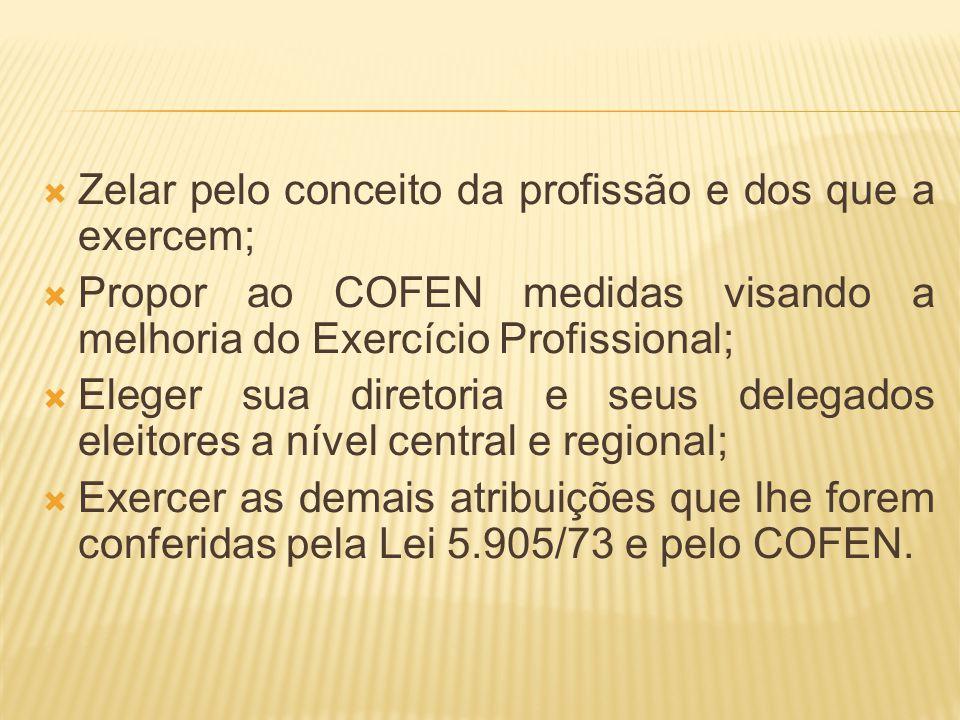 Zelar pelo conceito da profissão e dos que a exercem; Propor ao COFEN medidas visando a melhoria do Exercício Profissional; Eleger sua diretoria e seu