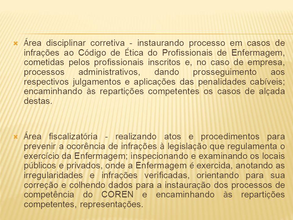 Á rea disciplinar corretiva - instaurando processo em casos de infra ç ões ao C ó digo de É tica do Profissionais de Enfermagem, cometidas pelos profi