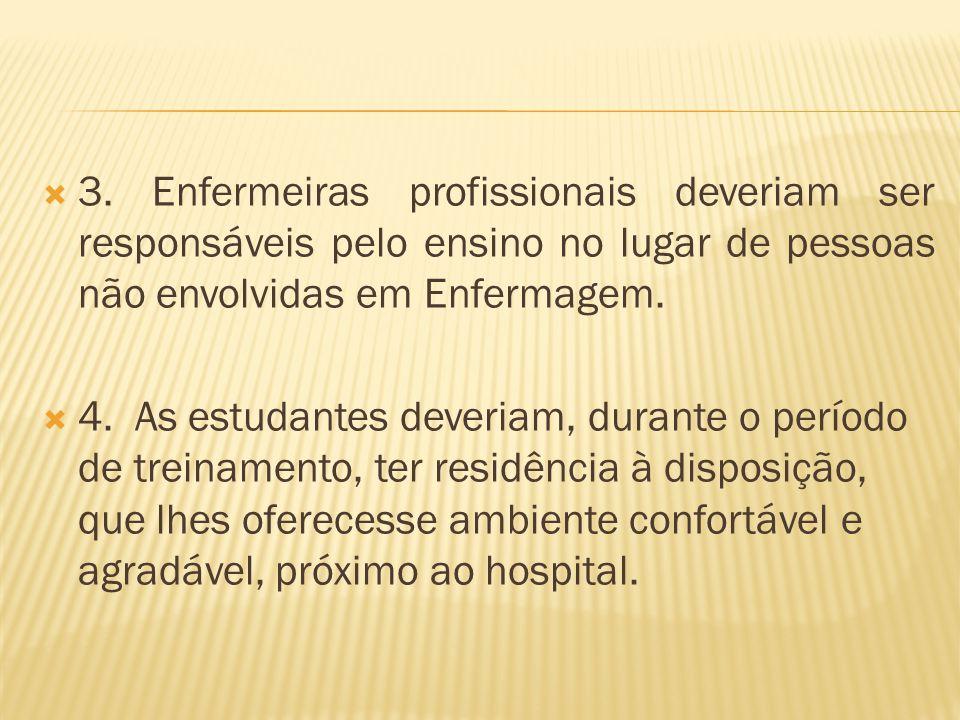 3. Enfermeiras profissionais deveriam ser responsáveis pelo ensino no lugar de pessoas não envolvidas em Enfermagem. 4. As estudantes deveriam, durant