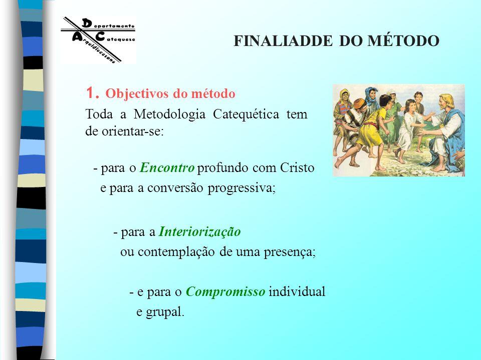 1. Objectivos do método Toda a Metodologia Catequética tem de orientar-se: - para o Encontro profundo com Cristo e para a conversão progressiva; - par