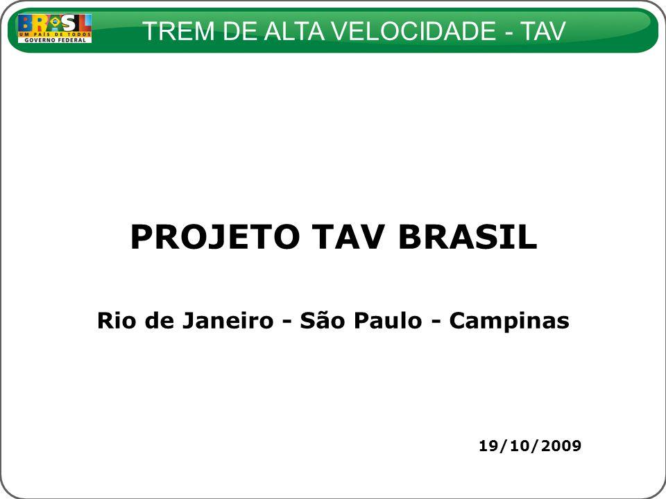 TREM DE ALTA VELOCIDADE - TAV 19/10/2009 PROJETO TAV BRASIL Rio de Janeiro - São Paulo - Campinas