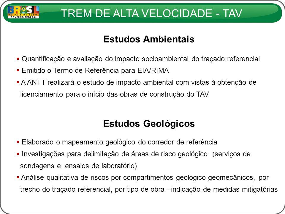 TREM DE ALTA VELOCIDADE - TAV Estudos Ambientais Quantificação e avaliação do impacto socioambiental do traçado referencial Emitido o Termo de Referên