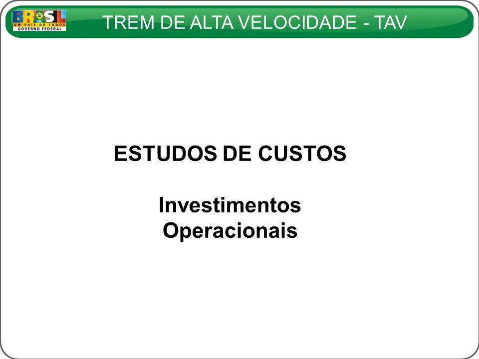 TREM DE ALTA VELOCIDADE - TAV ESTUDOS DE CUSTOS Investimentos Operacionais