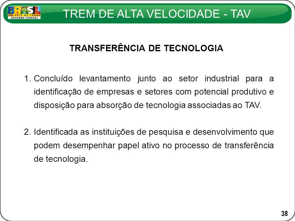 TREM DE ALTA VELOCIDADE - TAV 38 1.Concluído levantamento junto ao setor industrial para a identificação de empresas e setores com potencial produtivo