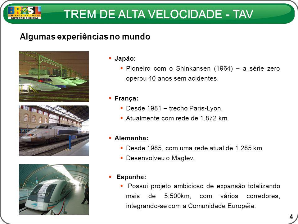 TREM DE ALTA VELOCIDADE - TAV COMPOSIÇÃO PROPOSTA PARA O TAV BRASIL CARACTERÍSTICAS DO TREM Comprimento do trem 200 m - 8 carros / composição (2014) 400 m - 16 carros / composição (2024) Carregamento máximo por eixo17 t Tara436 t Velocidade comercial máxima300 km/h Número de assentos Serviço Expresso: 458 assentos (duas classes) Serviço Regional: 600 assentos (classe única)