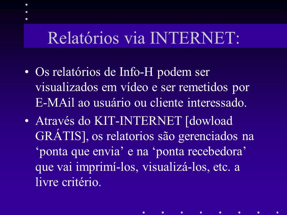 Relatórios via INTERNET: Os relatórios de Info-H podem ser visualizados em vídeo e ser remetidos por E-MAil ao usuário ou cliente interessado. Através