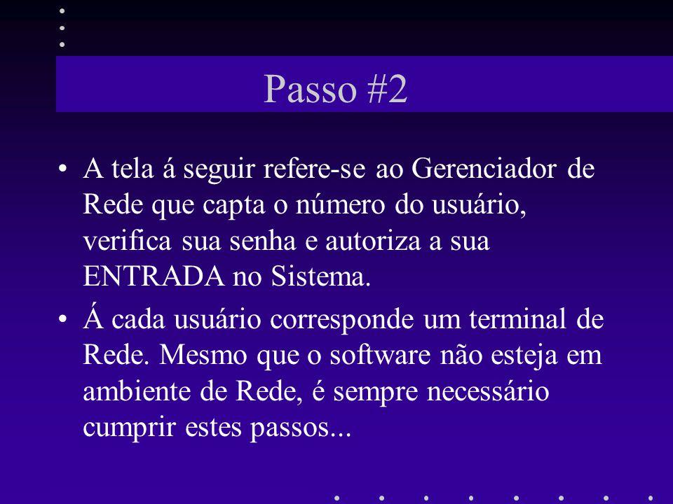 Passo #2 A tela á seguir refere-se ao Gerenciador de Rede que capta o número do usuário, verifica sua senha e autoriza a sua ENTRADA no Sistema. Á cad