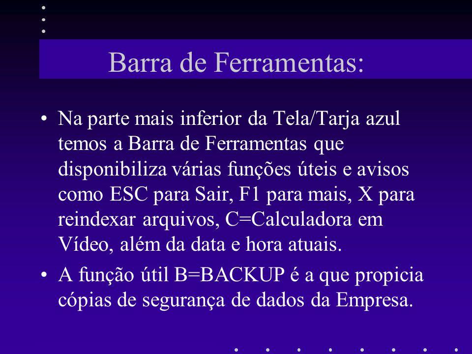 Barra de Ferramentas: Na parte mais inferior da Tela/Tarja azul temos a Barra de Ferramentas que disponibiliza várias funções úteis e avisos como ESC