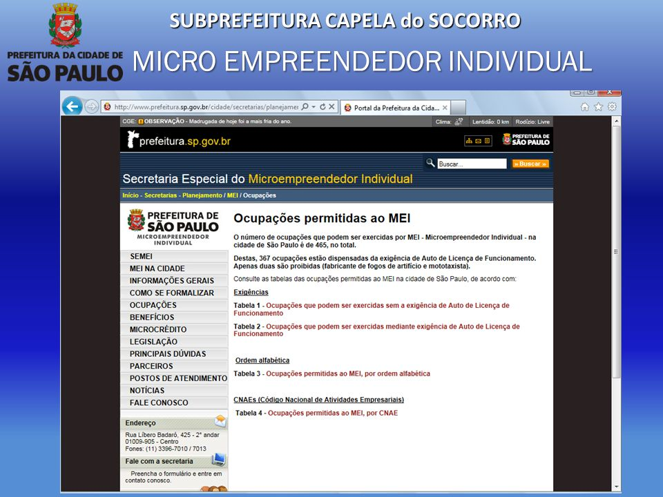 SUBPREFEITURA CAPELA do SOCORRO MICRO EMPREENDEDOR INDIVIDUAL