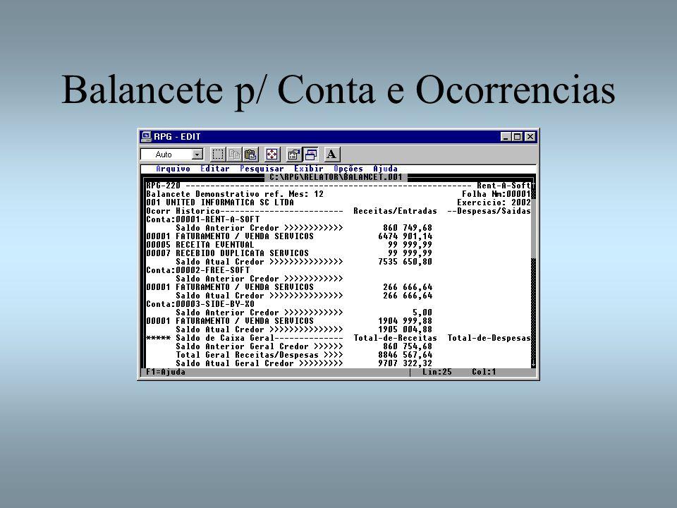 Balancete p/ Conta e Ocorrencias