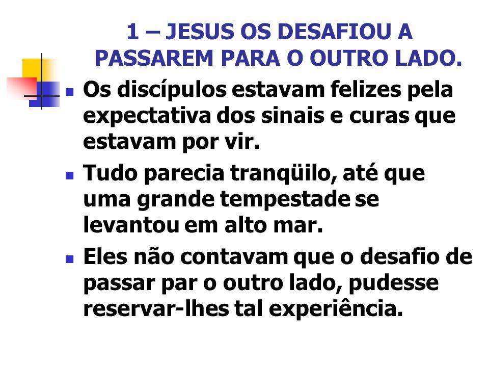 1 – JESUS OS DESAFIOU A PASSAREM PARA O OUTRO LADO. Os discípulos estavam felizes pela expectativa dos sinais e curas que estavam por vir. Tudo pareci