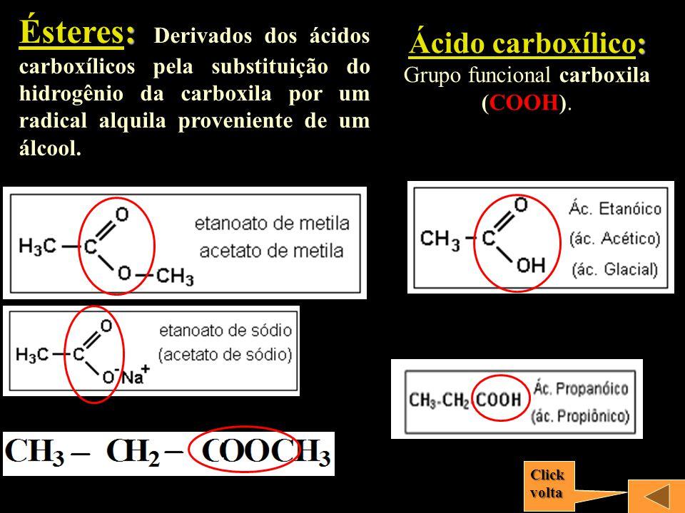 CH 3 –OHCH 3 – CH 2 –OH CH 3 –CH–CH 2 -CH 3 | OH CH 3 | CH 3 –CH–CH 2 -CH 2 -C-CH 3 | | CH 3 OH 2,5 – dimetil – 2 - hexanol metanoletanol 2 – butanol ou butan – 2 - ol Fenol OH Usual: OH Oficial CH 3 Apresenta hidroxila ligada ao núcleo ou anel aromático Hidróxi – benzeno Fenol 1 – hidróxi – 2 – metil - benzeno 2 – metil - fenol Usual: Oficial: Álcool 1 2 Clickvolta