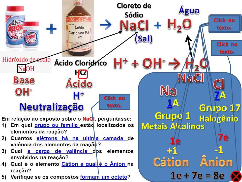 Famílias Cátions Perdem elétrons Carga + Ânions Ganha elétrons Carga - Neutra Carga ± Elemento Estabilizado (Pronto) Click sequência