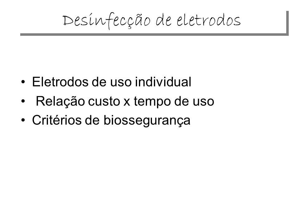 Desinfecção de eletrodos Eletrodos de uso individual Relação custo x tempo de uso Critérios de biossegurança