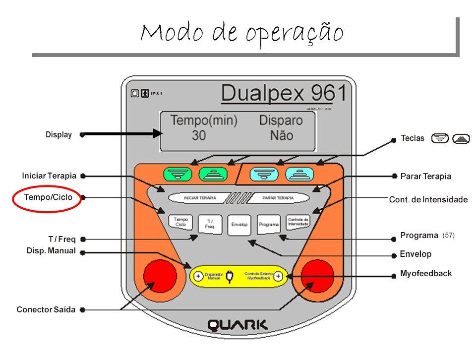 TIU KG350 Kroman Tipo de corrente: quadrada, bifásica, balanceada RISE/DECAY=1-3 s F = 5-300 Hz T = 50-500 s ON/OFF= 1-10s/1-10s