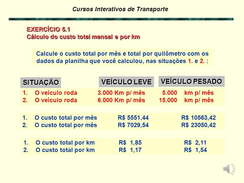 Cursos Interativos de Transporte Calcule o custo total por mês e total por quilômetro com os dados da planilha que você calculou, nas situações 1.