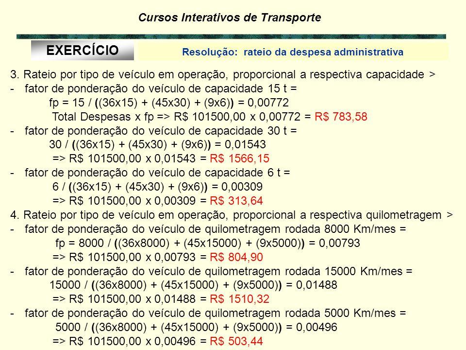 Cursos Interativos de Transporte Resolução: rateio da despesa administrativa EXERCÍCIO 6.1 1. Rateio por veículo em operação > R$ 101500,00 / 90 = R$
