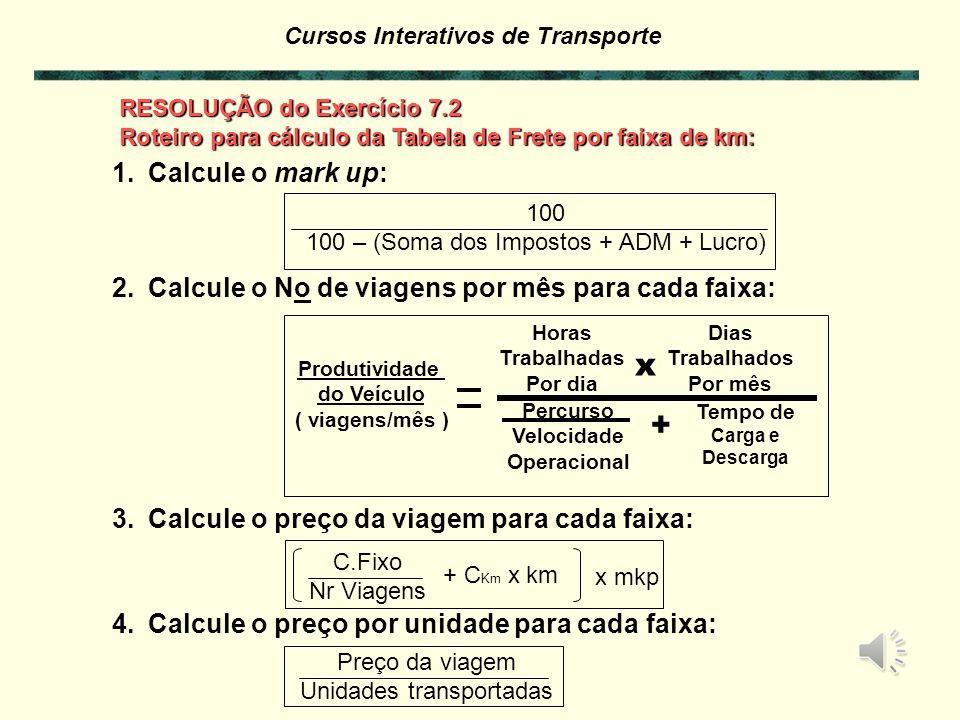 Cursos Interativos de Transporte EXERCÍCIO 7.2 – Montagem de Tabelas de Fretes Com os dados dos exercícios anteriores montar uma tabela de frete, por faixa de quilometragem.