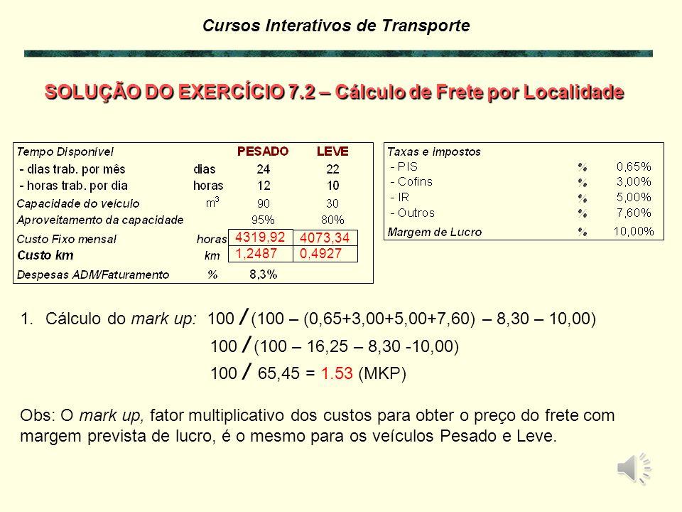 Cursos Interativos de Transporte SOLUÇÃO DO EXERCÍCIO 7.2 – Cálculo de Frete por Localidade Com os dados relacionados e dos exercícios anteriores mont