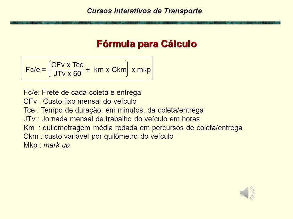 Cursos Interativos de Transporte EXERCÍCIO 7.3 – Cálculo de Coleta e Entrega Imaginando que o veículo leve faça as coletas e as entregas, calcule o preço para este serviço.