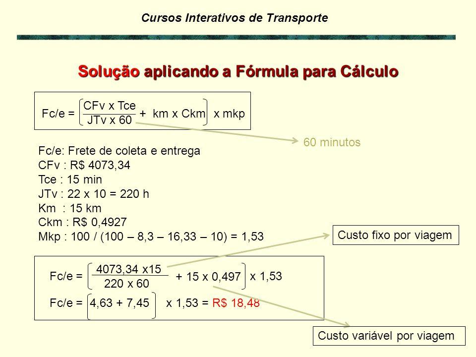 Cursos Interativos de Transporte Fc/e = CFv x Tce JTv x 60 + km x Ckm x mkp Fc/e: Frete de cada coleta e entrega CFv : Custo fixo mensal do veículo Tce : Tempo de duração, em minutos, da coleta/entrega JTv : Jornada mensal de trabalho do veículo em horas Km : quilometragem média rodada em percursos de coleta/entrega Ckm : custo variável por quilômetro do veículo Mkp : mark up Fórmula para Cálculo