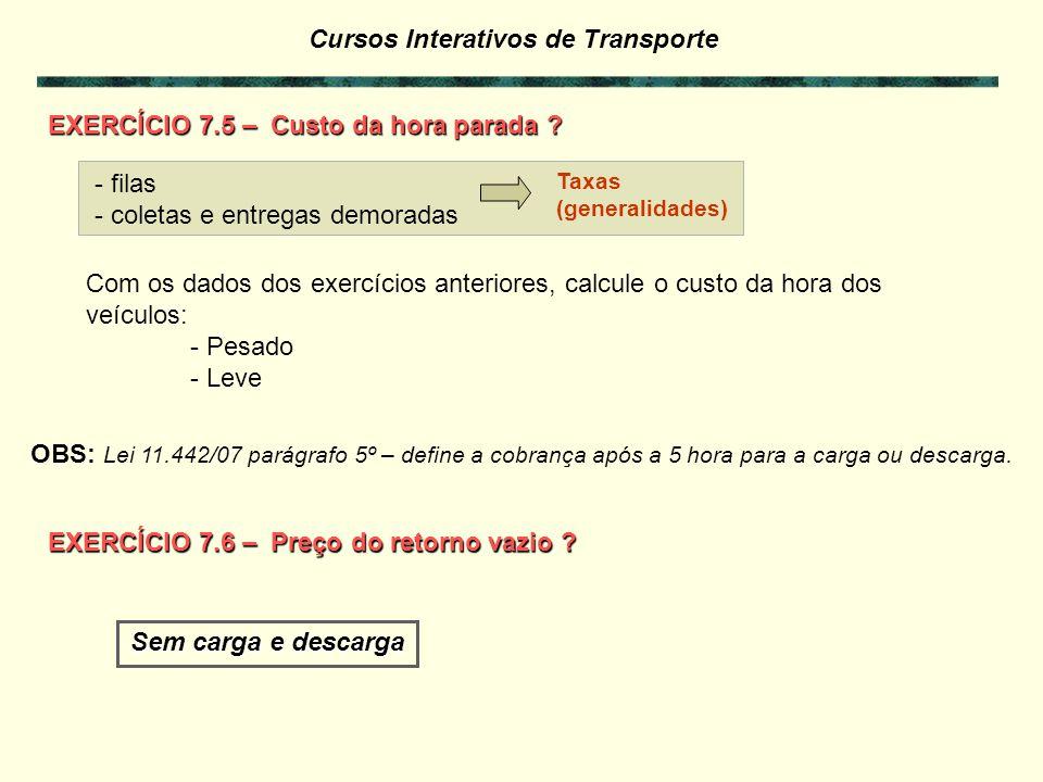 Cursos Interativos de Transporte Custo-peso Outros Componentes do Custo de Transporte Custos relacionados com a atividade de transporte (peso/volume e