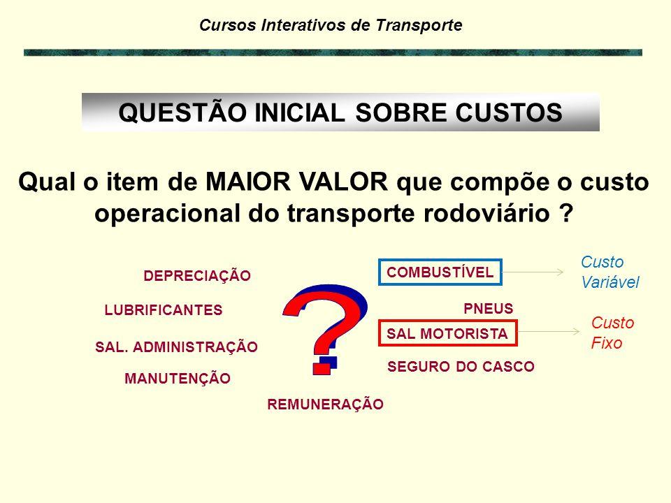 Cursos Interativos de Transporte QUESTÃO INICIAL SOBRE CUSTOS: Qual o item de MAIOR VALOR que compõe o custo operacional do transporte rodoviário ? CO
