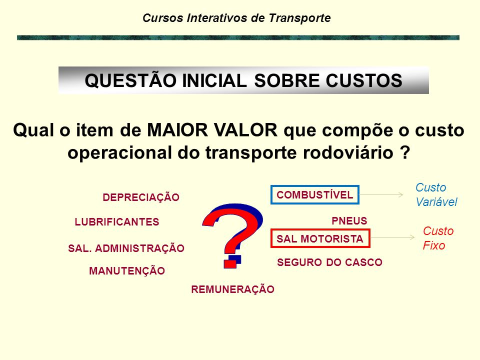 Cursos Interativos de Transporte Custo-valor & GRIS (Seguro & Gestão de Risco) (Seguro & Gestão de Risco) Exemplo 7.8 : Valor da cargaR$ 50.000,00 Custo-valor 0,20% para 1.000 km Custo-valor 0,25% para 3.000 km GRIS 0,3% Custo-valor = R$ 100,00 Custo-valor = R$ 125,00 GRIS = R$ 150,00 Total Custo-valor + GRIS 1.000 km = R$ 250,00 3.000 km = R$ 275,00 por viagem > Se, por exemplo, a carga pesar 15 ton, então: Total Custo-valor + GRIS 1.000 km = 250/15 = R$ 16,67 3.000 km = 275/15 = R$ 18,33 por ton Seguro Gestão de Risco