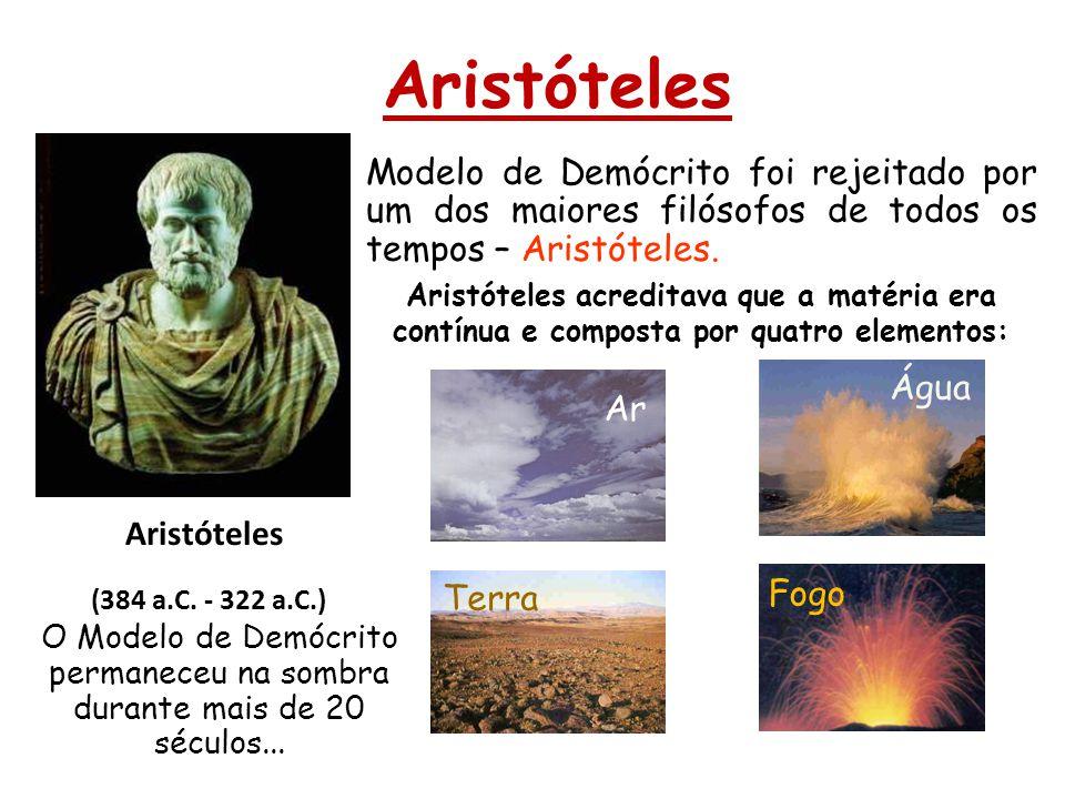 Aristóteles (384 a.C. - 322 a.C.) Modelo de Demócrito foi rejeitado por um dos maiores filósofos de todos os tempos – Aristóteles. O Modelo de Demócri