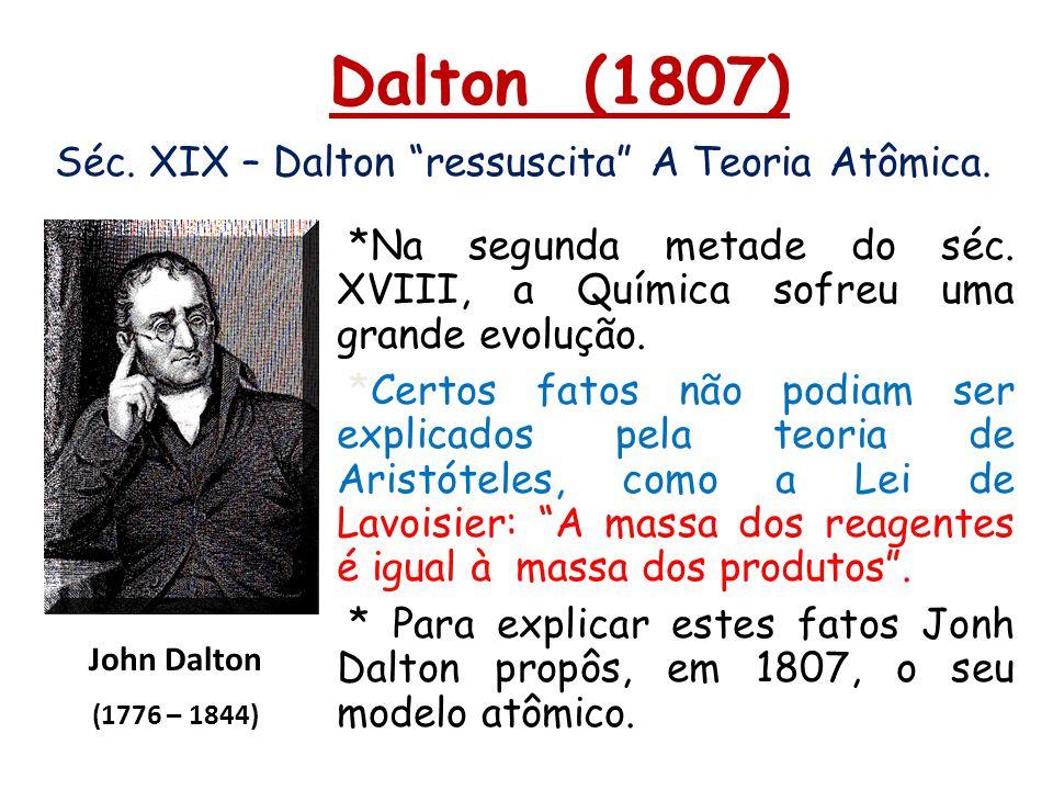 Dalton (1807) Séc. XIX – Dalton ressuscita A Teoria Atômica. John Dalton (1776 – 1844) *Na segunda metade do séc. XVIII, a Química sofreu uma grande e