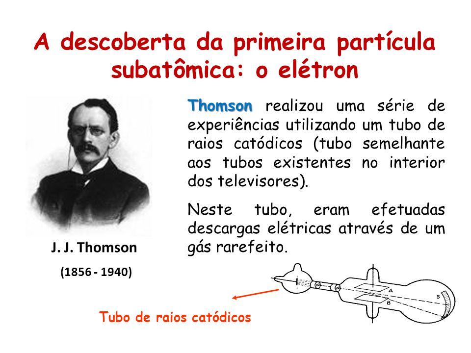 A descoberta da primeira partícula subatômica: o elétron J. J. Thomson (1856 - 1940) Thomson Thomson realizou uma série de experiências utilizando um