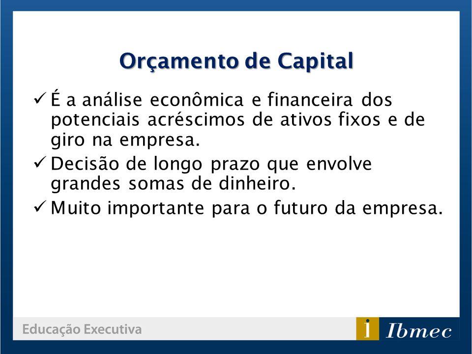 É a análise econômica e financeira dos potenciais acréscimos de ativos fixos e de giro na empresa. Decisão de longo prazo que envolve grandes somas de