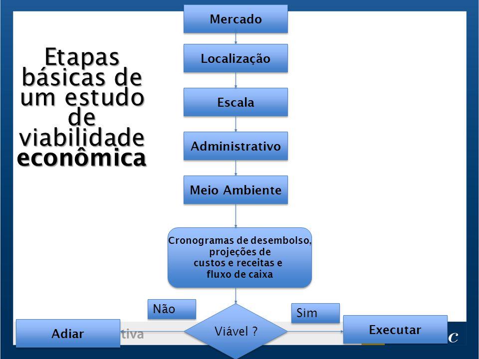 Mercado Escala Localização Administrativo Meio Ambiente Cronogramas de desembolso, projeções de custos e receitas e fluxo de caixa Cronogramas de dese