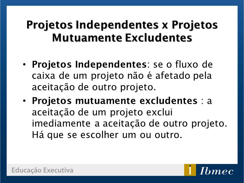 Projetos Independentes x Projetos Mutuamente Excludentes Projetos Independentes: se o fluxo de caixa de um projeto não é afetado pela aceitação de out