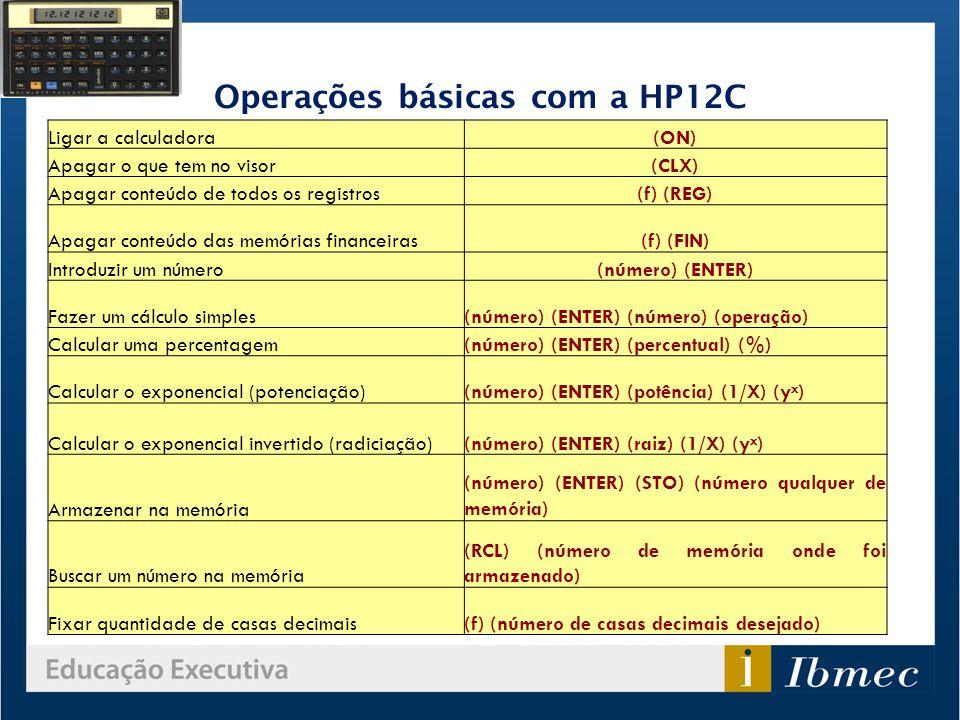 Operações básicas com a HP12C Ligar a calculadora(ON) Apagar o que tem no visor(CLX) Apagar conteúdo de todos os registros(f) (REG) Apagar conteúdo da