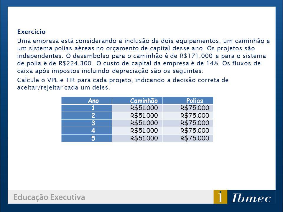 AnoCaminhãoPolias 1R$51.000R$75.000 2R$51.000R$75.000 3R$51.000R$75.000 4R$51.000R$75.000 5R$51.000R$75.000 Exercício Uma empresa está considerando a