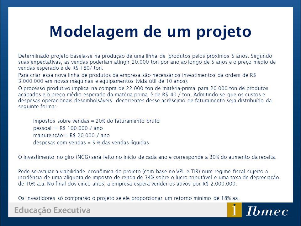 Modelagem de um projeto Determinado projeto baseia-se na produção de uma linha de produtos pelos próximos 5 anos. Segundo suas expectativas, as vendas