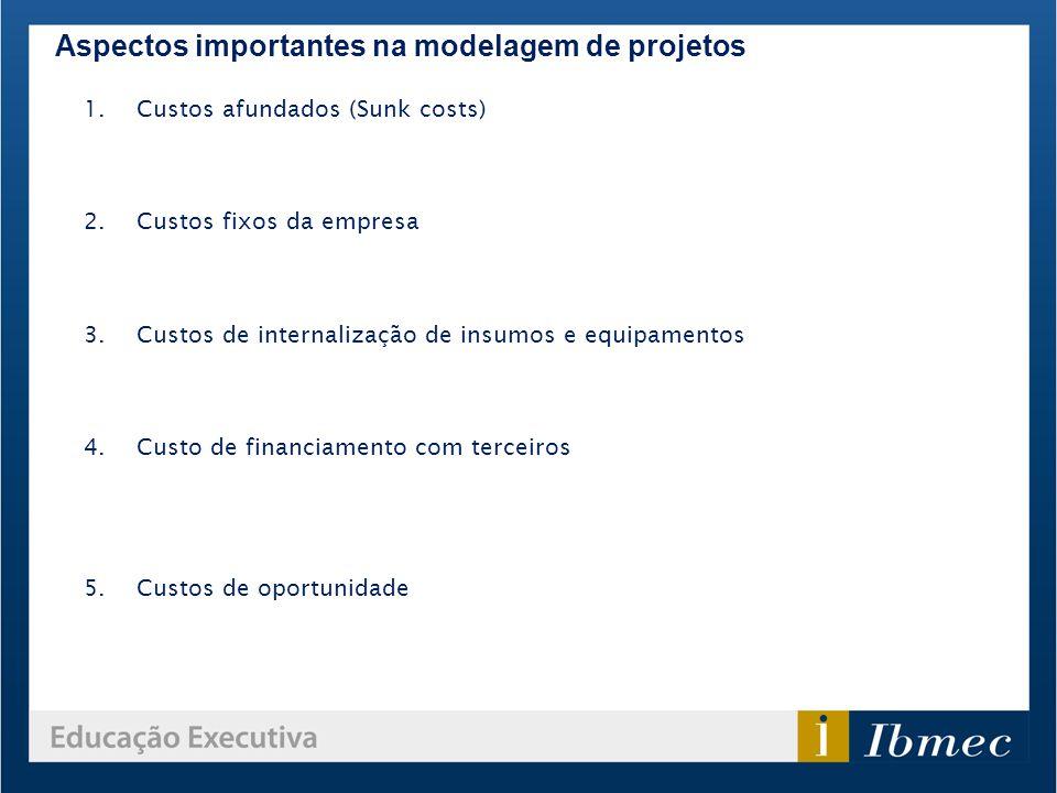 Aspectos importantes na modelagem de projetos 1.Custos afundados (Sunk costs) 2.Custos fixos da empresa 3.Custos de internalização de insumos e equipa