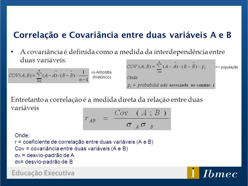 Correlação e Covariância entre duas variáveis A e B A covariância é definida como a medida da interdependência entre duas variáveis. Entretanto a corr