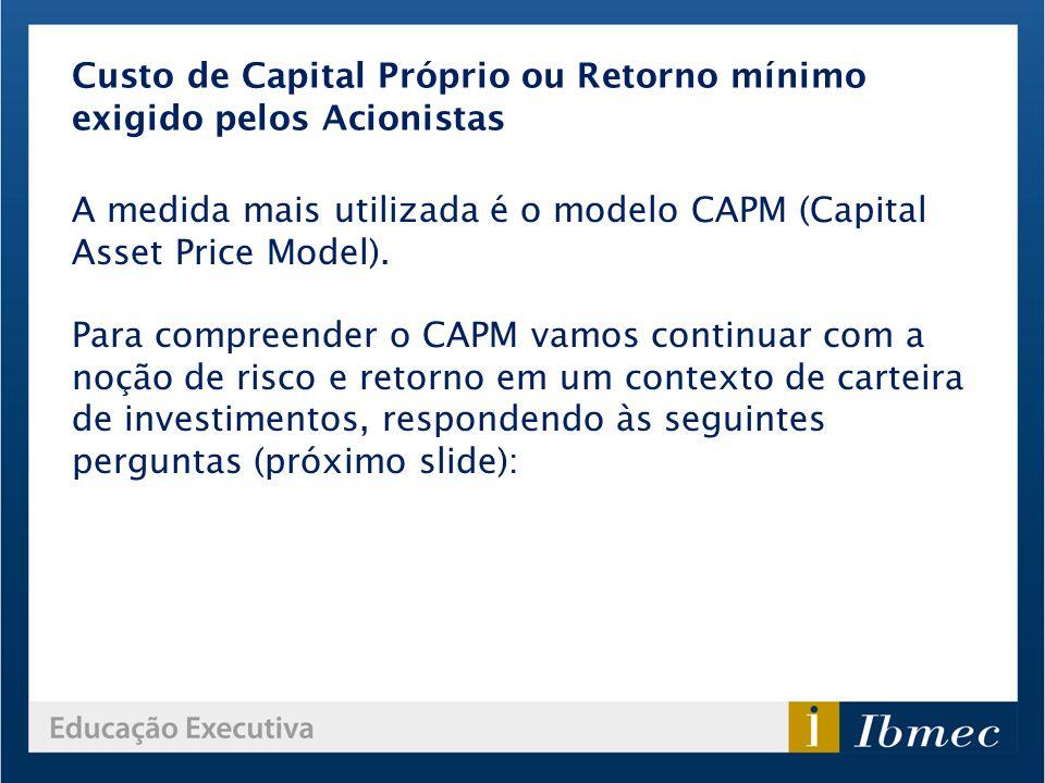 Custo de Capital Próprio ou Retorno mínimo exigido pelos Acionistas A medida mais utilizada é o modelo CAPM (Capital Asset Price Model). Para compreen