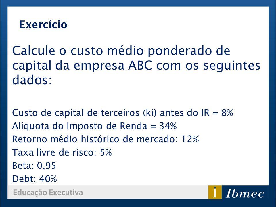 Calcule o custo médio ponderado de capital da empresa ABC com os seguintes dados: Custo de capital de terceiros (ki) antes do IR = 8% Alíquota do Impo