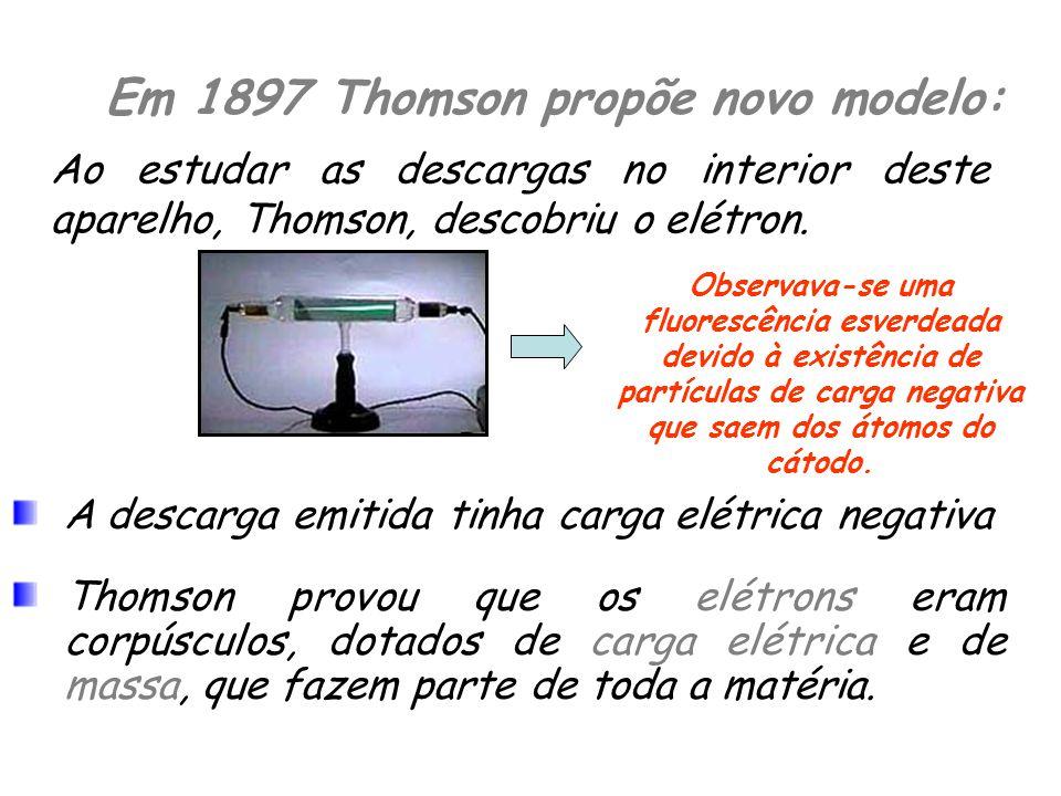 Em 1897 Thomson propõe novo modelo: Ao estudar as descargas no interior deste aparelho, Thomson, descobriu o elétron.