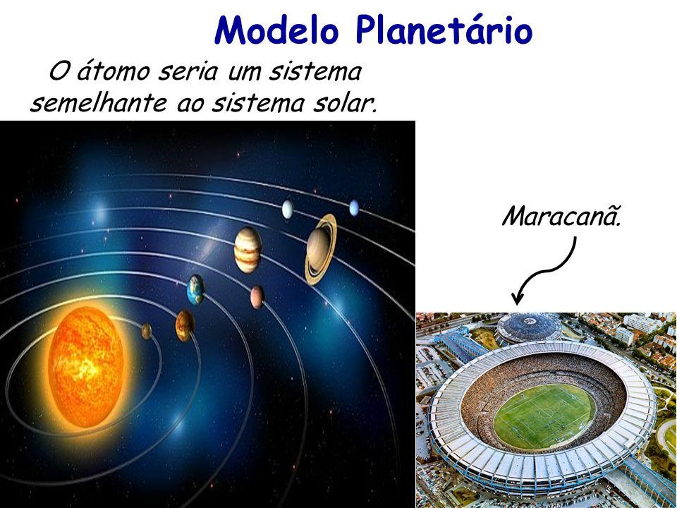 Modelo Planetário O átomo seria um sistema semelhante ao sistema solar. Maracanã.